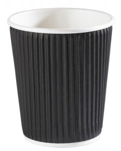 8oz Black Ripple Wall Hot Drink Cup (24cl)