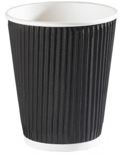 12oz Black Ripple Wall Hot Drink Cup (36cl)