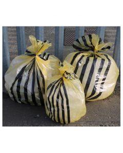 Clinical Yellow Tiger Striped Sacks 8.55 Inch x 17 Inch x 26 Inch 20L