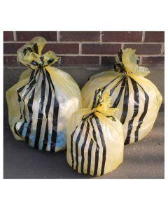 Clinical Yellow Tiger Striped Sacks 11 Inch x 22 Inch x 25 Inch 30L