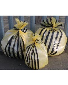 Clinical Yellow Tiger Striped Sacks 14 Inch x 28 Inch x 34 Inch 80L